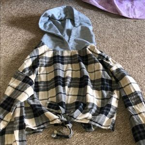Romwe Plaid Hooded Jacket